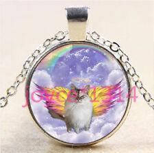 Vintage Angel Cat Cabochon Tibetan silver Glass Chain Pendant Necklace #6194