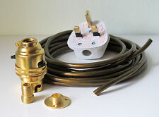 Brass switched lamp holder Kit BC fitting wood nipple base and 6 metres of wire