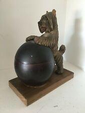 Vintage Anri Wood Carving Skye Terrier Tobacco Humidor As Is