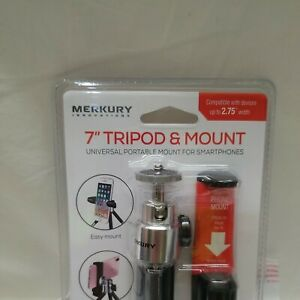 """Merkury 7"""" Smartphone Tripod and Mount - Black / Silver High Quality Metal Stand"""