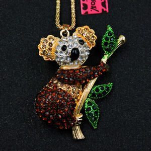 New Lovely Enamel Brown Crystal Leaf Koala Betsey Johnson Pendant Necklace