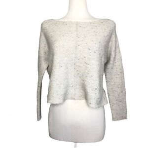 Eileen Fisher Wool Blend Cropped Sweater Size L Knit Cream Beige Neutral Soft