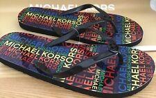 MICHAEL KOR'S  New Flip flops Uk 8 US 10 Black / Multi Coloured Iconic  MK & Bag