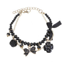 Women Retro Crystal Pearl Enamel Camellia Rose Flower Bowtie Bracelet Chain Gift