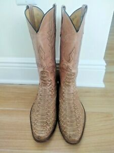 VGUC Tall Rios of Mercedes Tan Snakeskin Cowboy Boots - US Size 9 D (Mens)