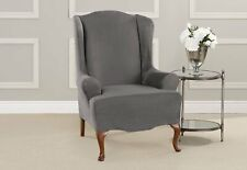 Sure Fit Stretch Suede - Wing Chair Slipcover - Slate Gray