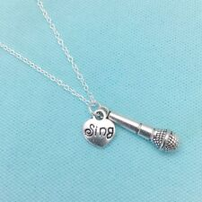 STUNNING Microphone and Sing charms necklace. SINGER, Band Member GIFT.