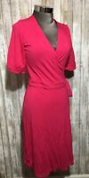 Lilly Pulitzer Womens Size Medium Pink Wrap Dress Stretchy VNeck