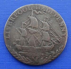 British 1791 Liverpool Halfpenny Conder Token, DH#79j Rare Milled Edge~9.2g~1060