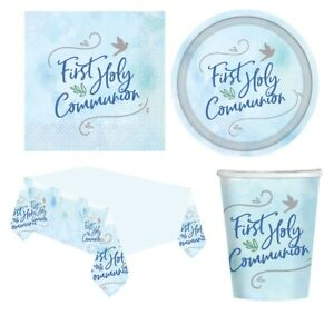 1st HOLY COMMUNION First BLUE/BOY Party Tableware Supplies Decorations (2021)