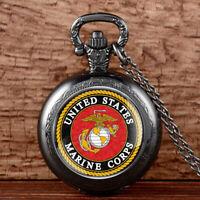 US Marine Corps Badge Antique Quartz Pocket Watch Vintage Necklace Pendant Chain
