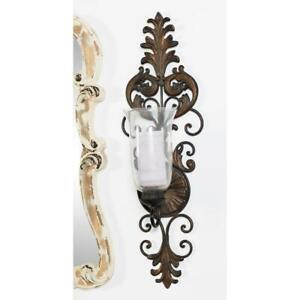Old Fashioned Victorian Wall Candle Sconce Hurricane Pillar Holder, Antiqued