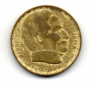 Perú 1954, vintage coin, Marshall Ramon Castilla, LIberty Torch, 10 centavos