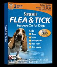 SERGEANT'S Dog FLEA & TICK 33 lb-66 lb SQUEEZE ON Over 12 Weeks 3 MONTH SUPPLY