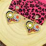 Hot Black Enamel Lovely Heart Flower Crystal Betsey Johnson Women Stand Earrings