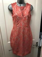 Warehouse Dress Size 10 Coral Sleeveless Lace Effect Round Neck Knee Length NEW