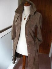 Ladies NEXT beige long line real suede leather COAT trench size UK 10 8 duster