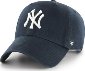 Forty Seven 47 Brand New York Yankees Navy Clean Up Curved Visor Strapback Cap