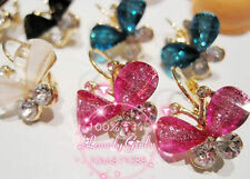 Wholesale New Fashion 12Pairs Butterfly Plastic Beads Rhinestone Golden Earrings
