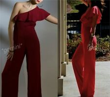 ZARA Red Off The Shoulder Jumpsuit Asymmetric Frilled Overalls Strapless Red M