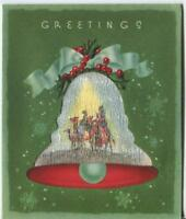 VINTAGE CHRISTMAS GREEN SNOWFLAKES BELL RED HOLLY RIBBON CHURCH GREETING CARD