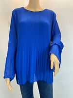 Modissima Blue Oversized Pleated Blouse Top Loose Sleeve  Shirt Size L