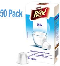 Café RENE compatibles Nespresso Capsules 50 Lait Capsules pour Cappuccino et Café Latte