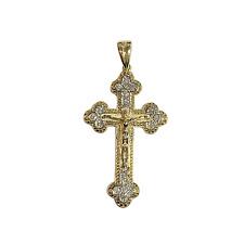 Crucifix Jesus Cross Pendant 18 Natural Diamonds 14K Gold Christian Jewelry
