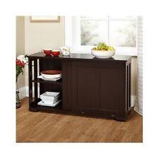 Espresso China Hutch Stackable Cabinet Buffet Curio Storage Sliding Wooden Door
