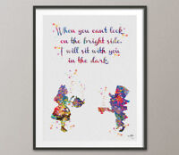 Alice in Wonderland Mad Hatter inspirational Quote Watercolour Print Nursery Art