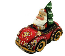 Russian Hand Painted Carved Santa Claus Figurine Driving Car With Tree Gift RARE