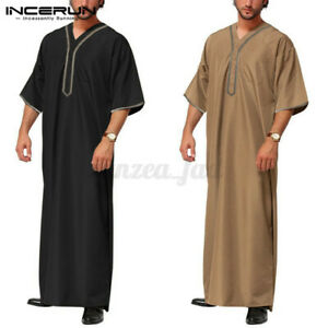 Herren Jubba Kaftan Dishdash Thobe Arabische Robe Islamische Kleidung Saudi Robe
