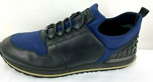 Tod's Blue Nylon Black Leather Sport Sneakers Sz 10 US (Sz 9 UK) Made In Italy