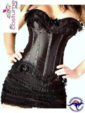 SEXY Black Satin Corset Bustier Mini Skirt Moulin Rouge Size 8 - 24 AU
