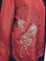 Design Exchange Blouse sz S Red Silk Long Sleeve Gold Floral Embroidery