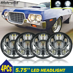 "4PCS 5-3/4 5.75"" Round LED Headlights Projector Hi-Lo Beam For Ford Gran Torino"
