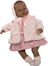 Berbesa - Recién nacida negrita vestido y abrigo rosa, 52 cm caja (5205N)