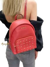 MICHAEL KORS ERIN MEDIUM STUDDED ABBEY PEBBLED LEATHER BACKPACK FLAME