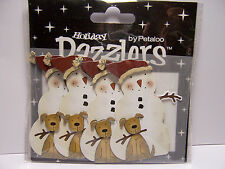 4 Snowman w/ Dog Dazzlers 3D Sticker Embellishments Fun Card & Scrapbook Accents