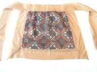 Apron Vintage 1960's Half Apron Handmade , Silk , Tan Print