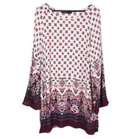 Boho Women's Floral Printed Loose Long Sleeve Mini Dress Shirt Top Blouse Tee