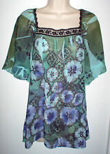 WOMENS TOP SIZE LARGE MULTI COLOR EMBELLISHED SHORT SLEEVE NEW LOW SHIP