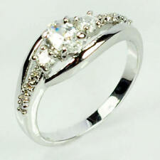 Silver Plated Solitaire with Accents Sapphire Fashion Rings