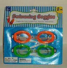 2 Pack Of Boys & Girls Swimming Goggles ORANGE & GREEN  Ages 5+ NIP