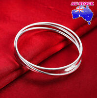925 Sterling Silver Layered Classic 6CM Solid Plain Band Charm Bracelet Bangle