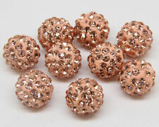 New 10/20Pcs Czech Crystal Rhinestones Pave Clay Round Disco Ball Spacer Beads