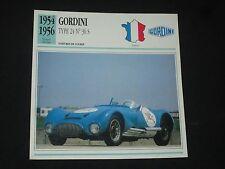 GORDINI TYPE 24 N°36S 1954-1956 VOITURE COURSE FICHE ATLAS INFO CARD CAR FRANCE