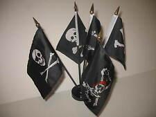 "Jolly Roger JR Pirate Pirates 5 Flags 4""x6"" Desk Set Table Stick Black Base"
