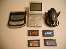 SILVER GAMEBOY ADVANCE SP console Unboxed with games (A)