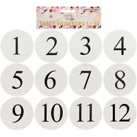 1-12 Wedding Party Table Conference Birthday Engagement White Number Cards